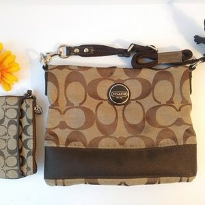 Coach Crossbody and Wristlet Set - Brown